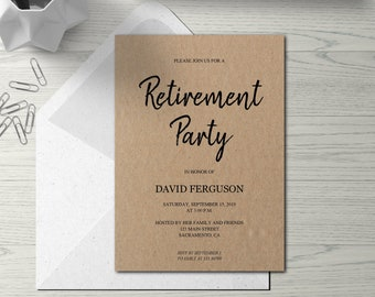 Plaid Retirement Party Invitation Template Red Checks Funny Etsy