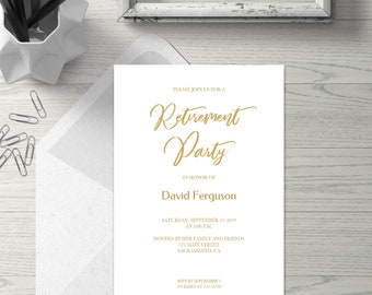 Gold Geometric Retirement Party Invitation Card With Etsy