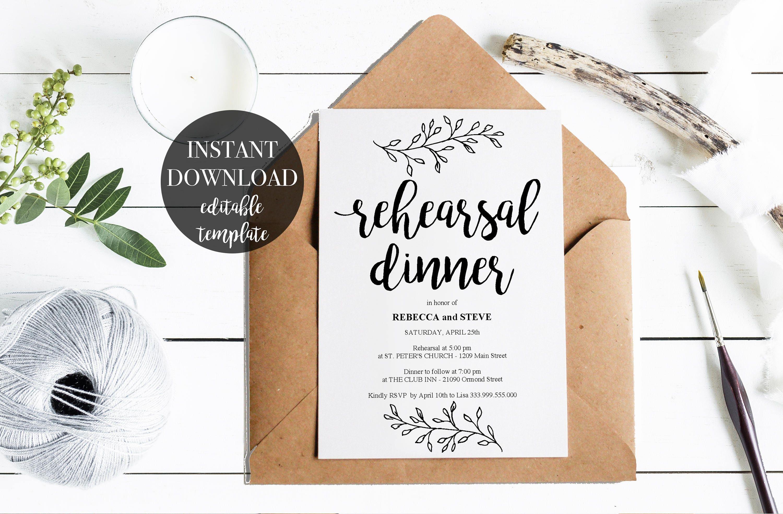 Rehearsal Dinner Printable Template Invitation Card Rustic