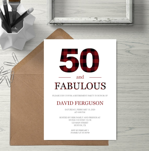 50 Birthday Party Invitation Template Red Plaid Funny 50 And Fabulous Birthday Invite Printable Instant Download Editable Pdf