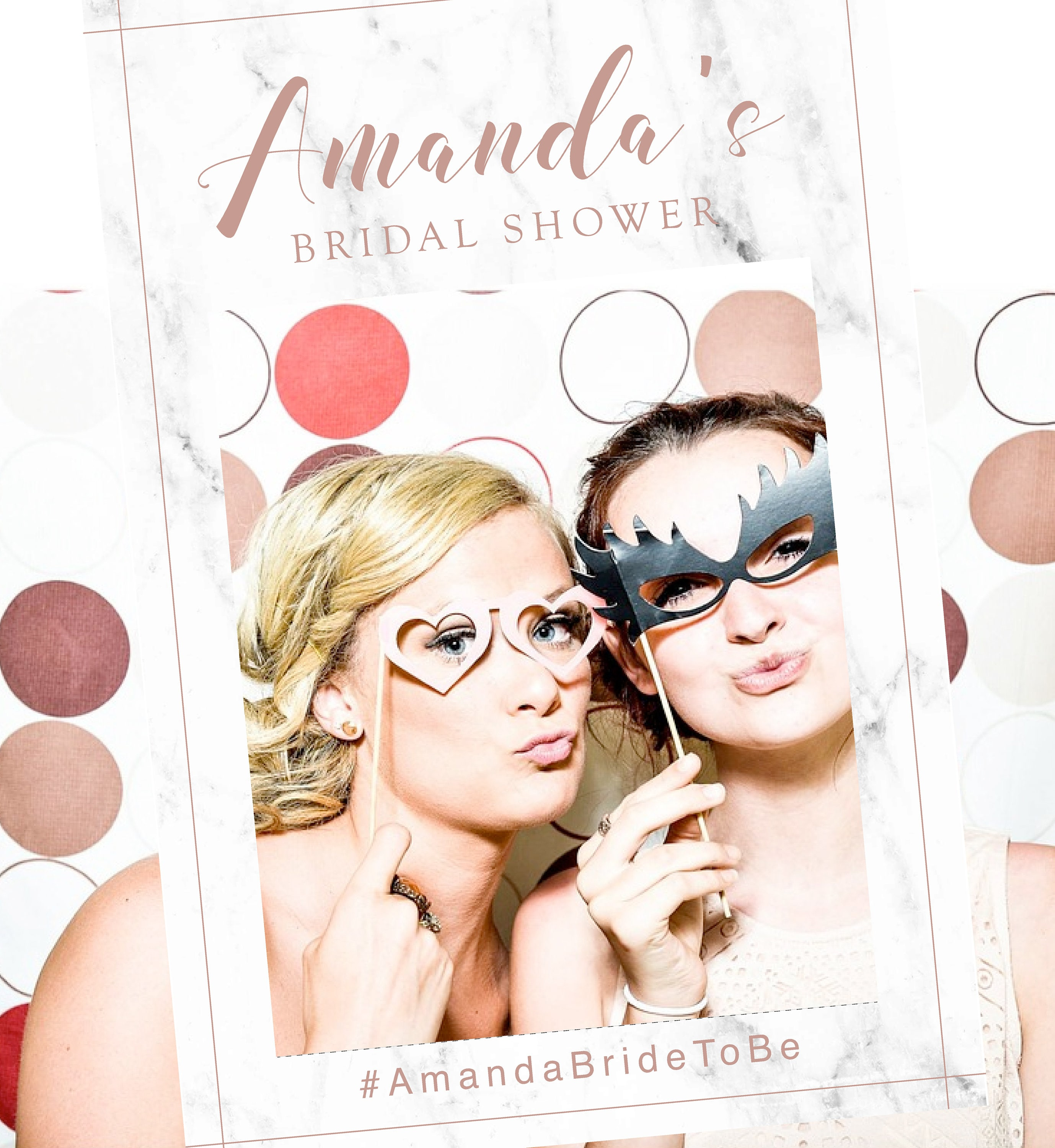 Marble Bridal Shower Photo Booth Prop Frame Printable File