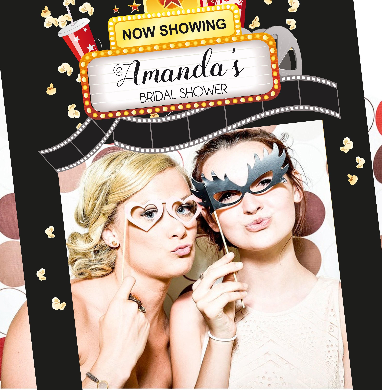 Personalized Cinema Bridal Shower photo frame Cinema Wedding photo booth Cinema themed Party Photo Prop Frame printable