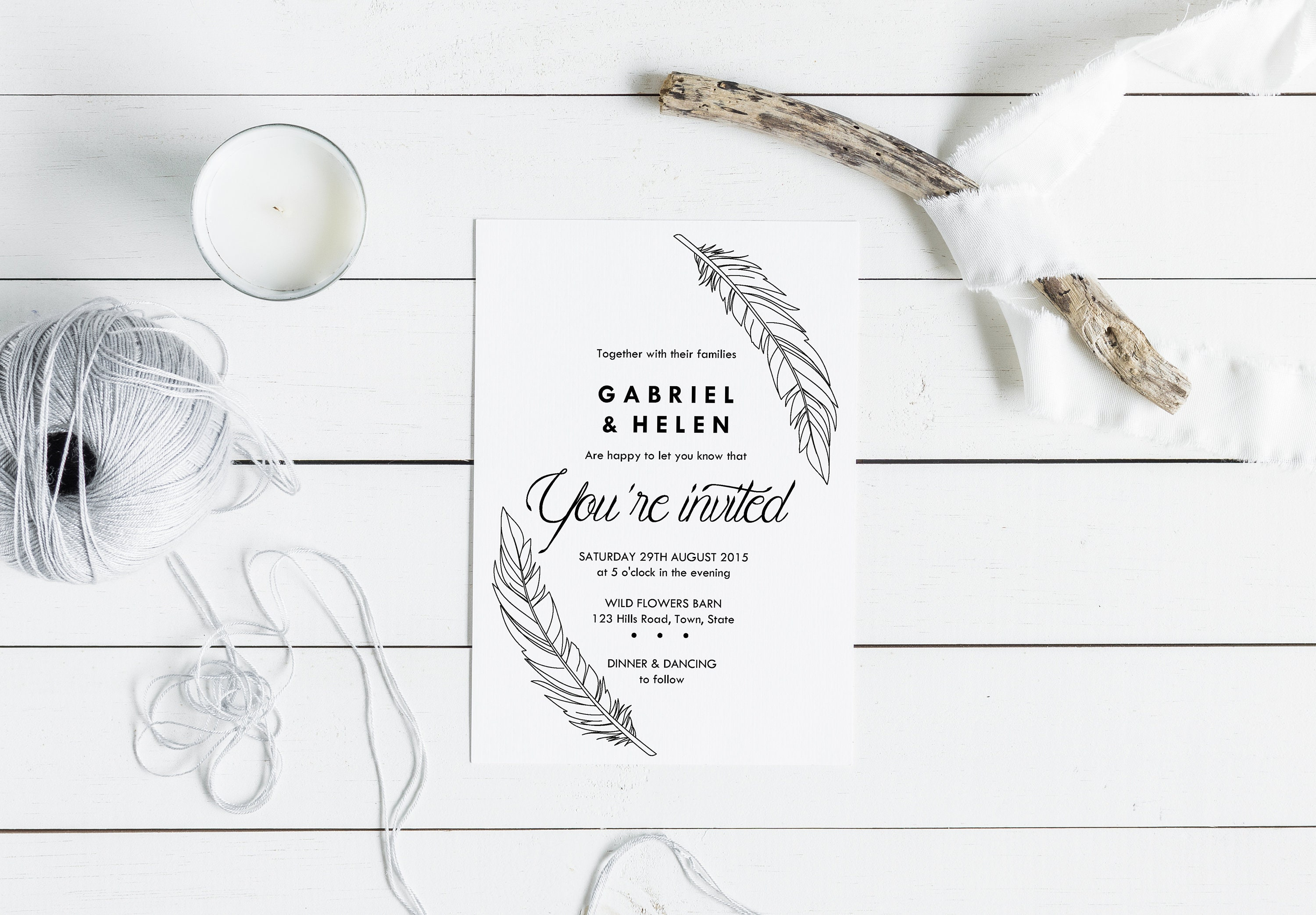 Feathers Wedding Invitation Suite Black And White Simple