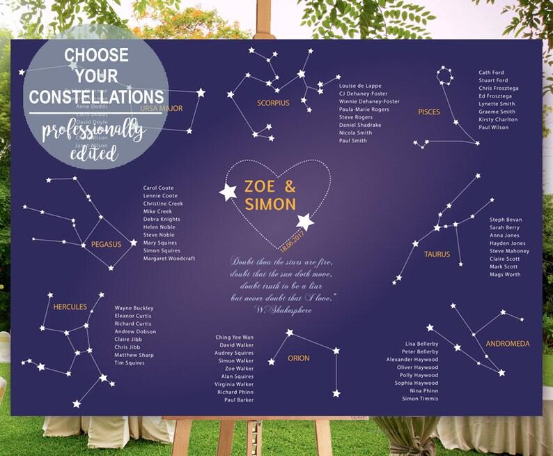 Tema Matrimonio Segni Zodiacali : Tableau de marriage per matrimonio a tema astronomico con etsy