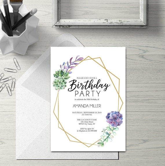 Birthday Party Template Card Purple Succulents And Gold Geometric Frame Birthday Invitation Printable Editable Text Instant Download Pdf