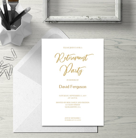 Retirement Party Invitation Card In Gold Simple Calligraphy Retirement Party Invite Template Instant Download Editable Text Diy Pdf