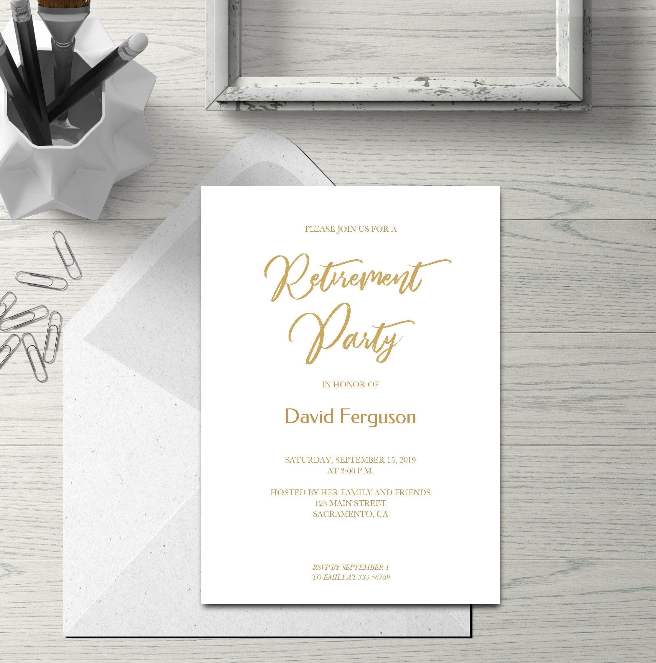 Retirement Party Invitation Card In Gold Simple Calligraphy