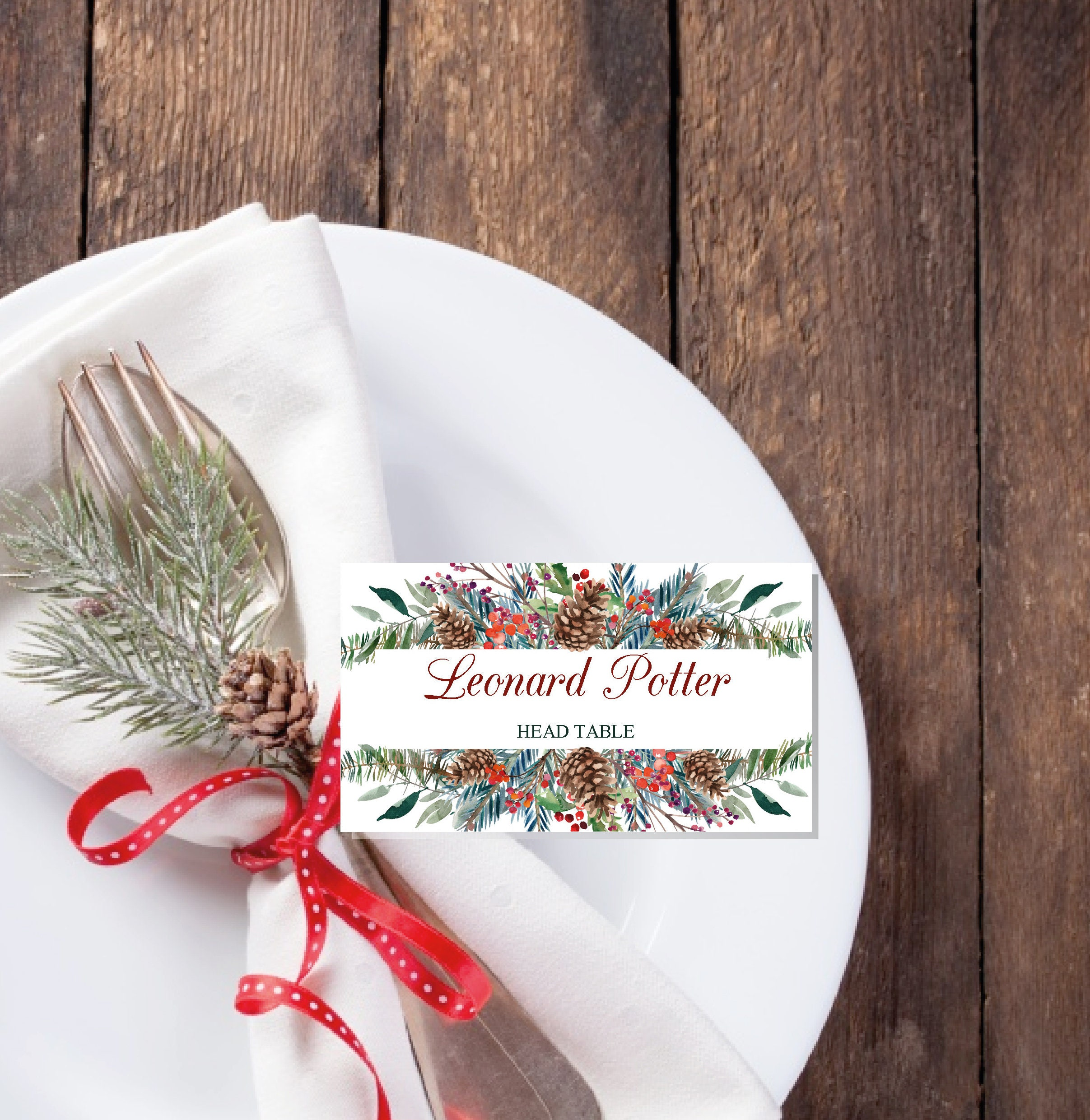 Christmas Place Cards printable template, Editable Names Cards With Christmas Table Place Cards Template