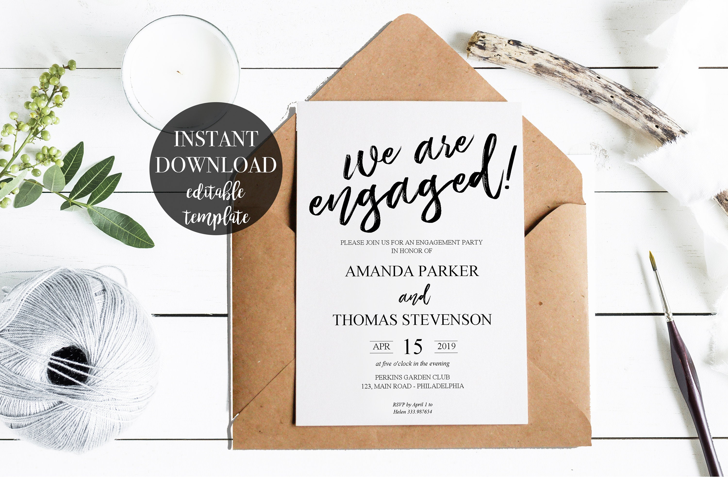 Rustic Engagement Invitation Template Party Printable