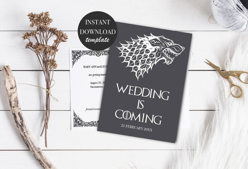 INSTANT DOWNLOAD Games of Thrones save the date template Save the date postcard PDF editable file