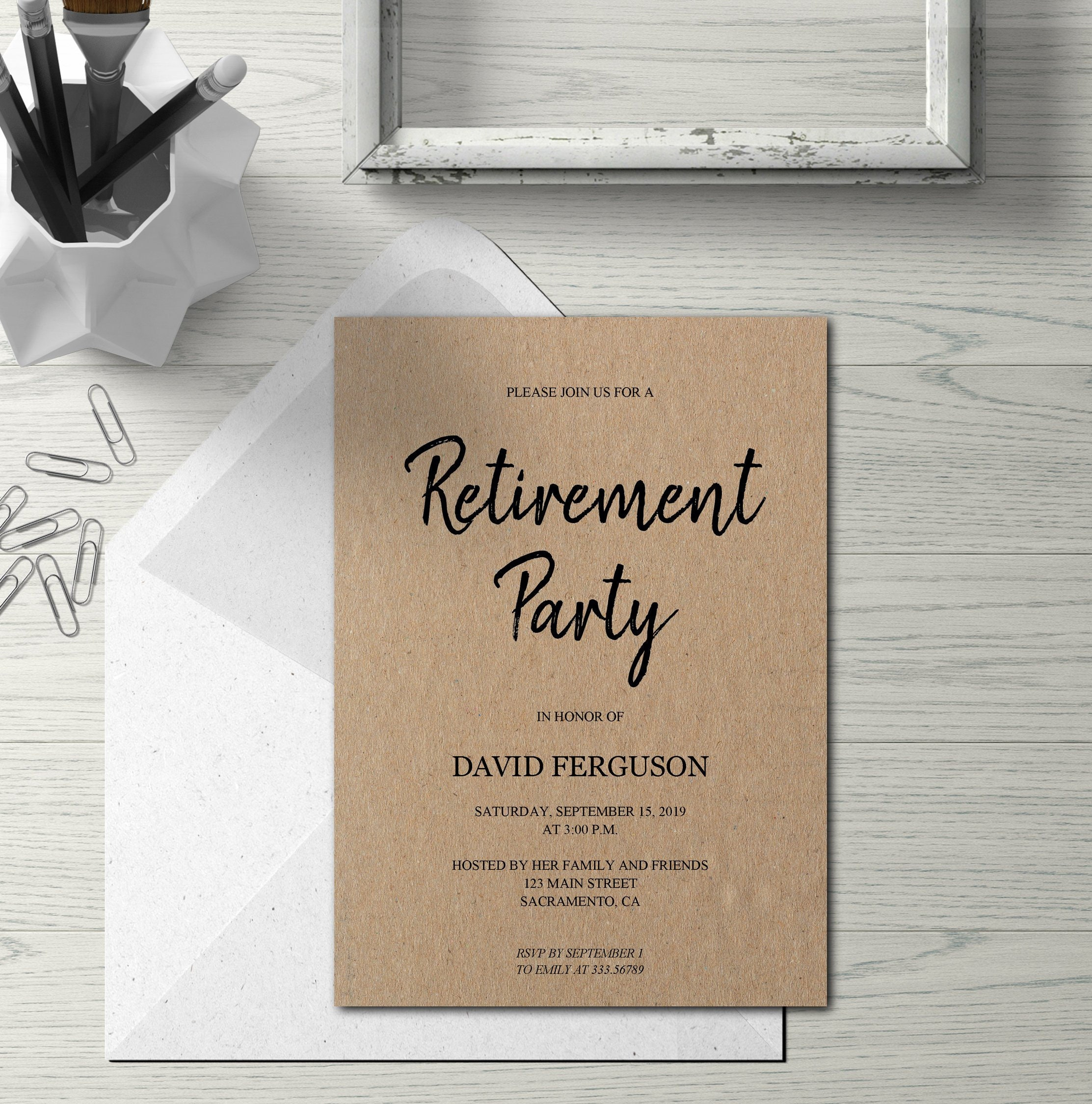 Retirement party invitation simple kraft card, rustic Retirement