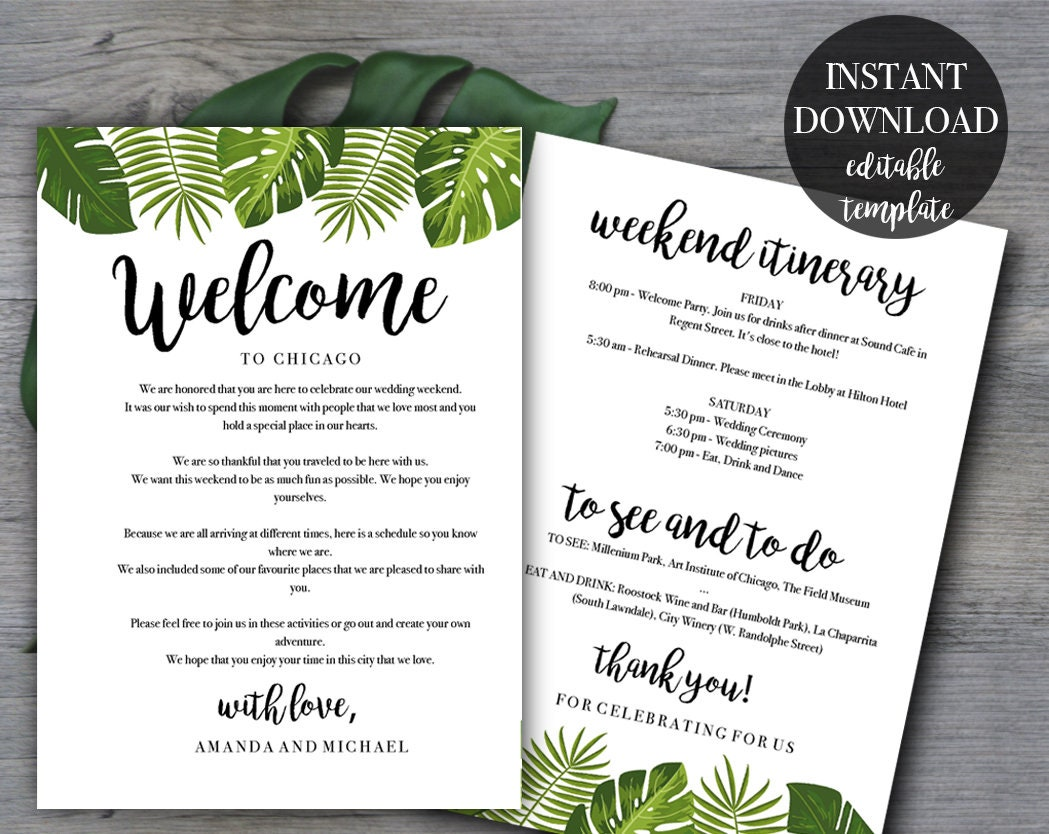 Tropical Wedding Weekend Itinerary template | Wedding welcome letter