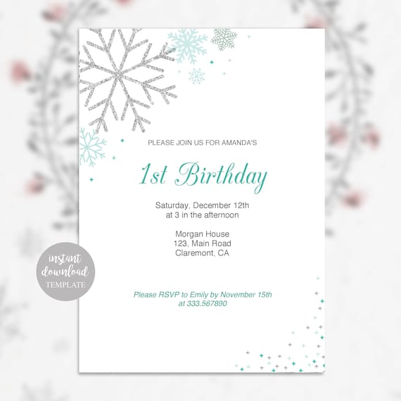 Winter Birthday Party Invitation Card With Snowflakes In Silver And Blue Instant Download Editable Template Pdf Printable
