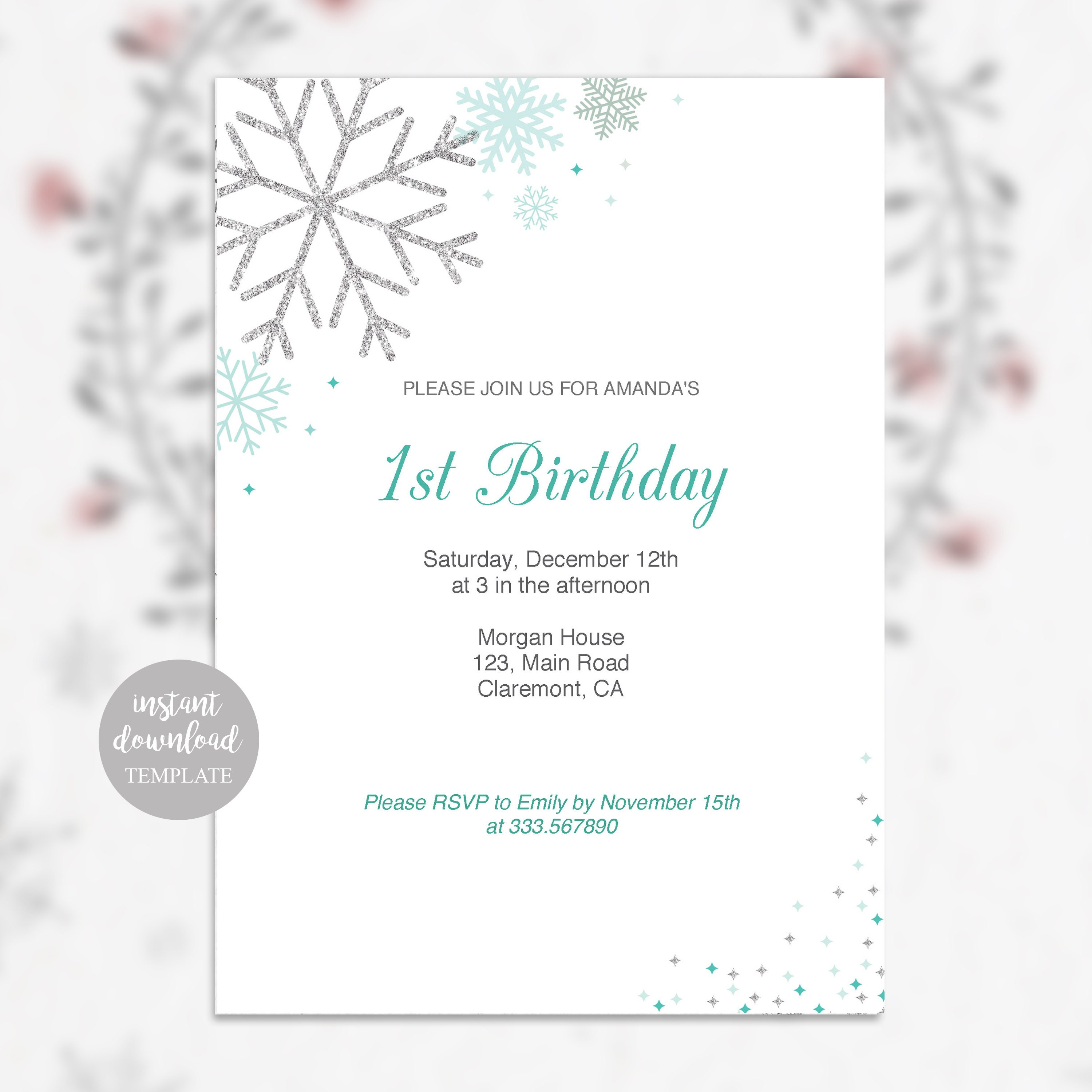 Winter Birthday Party Invitation Card With Snowflakes In