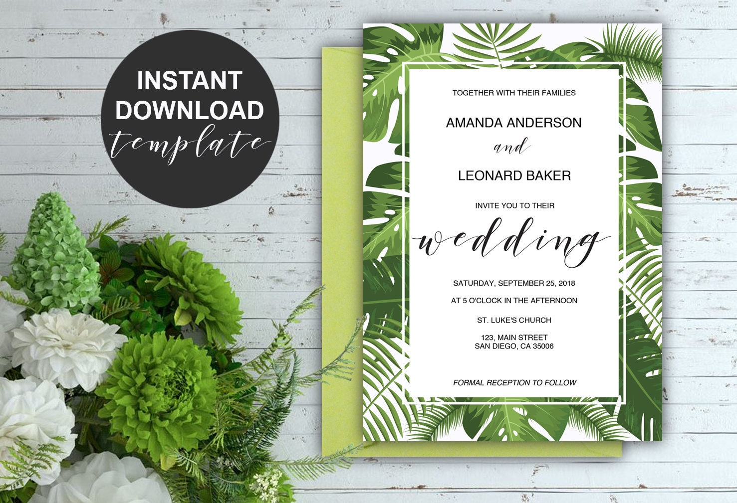 Tropical Leaves Wedding Invitation Suite Greenery Invitation Template Instant Download Printable Wedding Suite Pdf Editable Tpc Polish your personal project or design with these tropical leaves transparent png images, make it even more personalized and more attractive. redline design studio