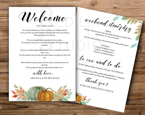 Autumn Pumpkins Weekend Itinerary Template Autumn Wedding Welcome Letter Printable Welcome Bag Ideas Instant Download Editable Pdf Pmk