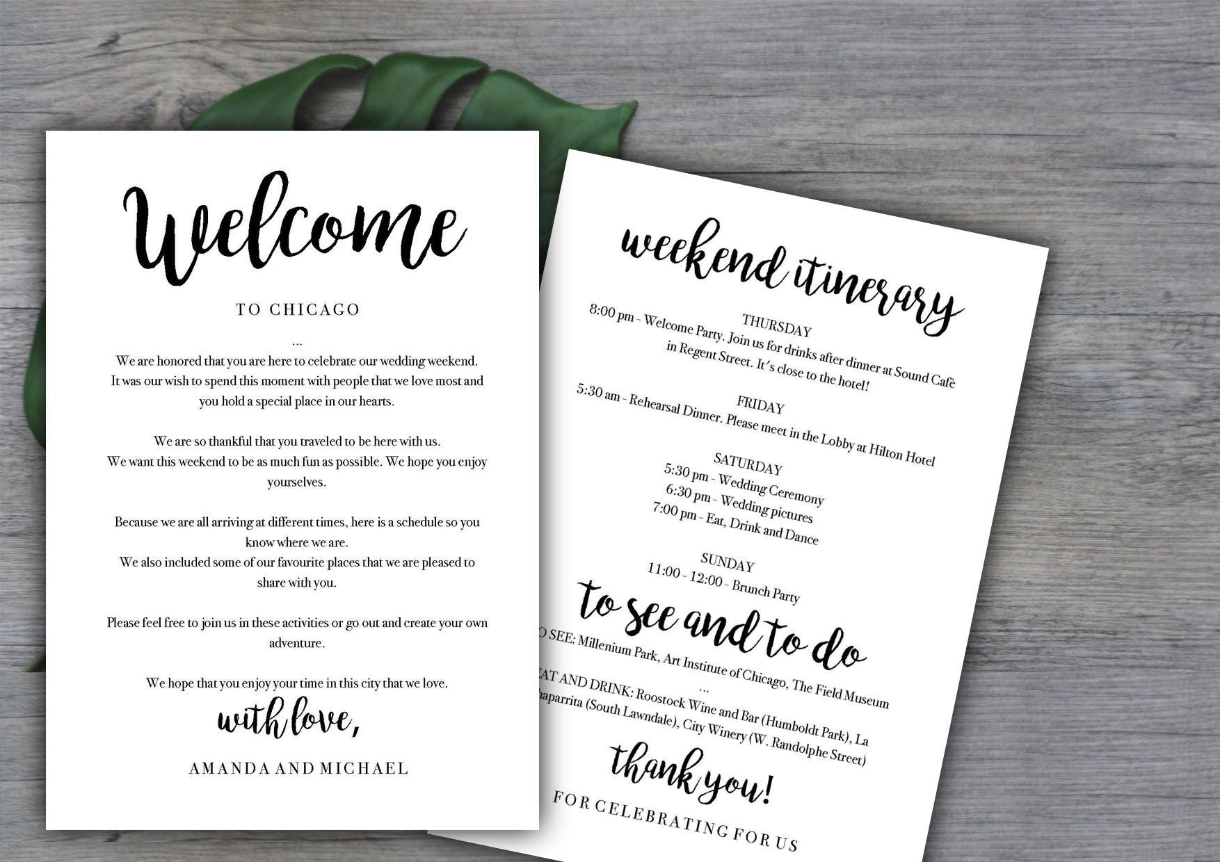 weekend itinerary template destination wedding welcome letter