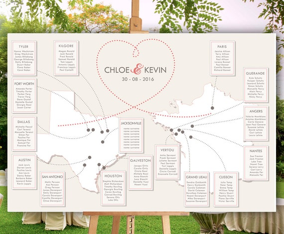 Destination Wedding Seating Chart Personalized With Your Etsy