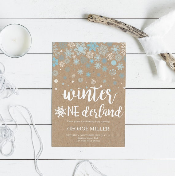 Winter First Birthday Invitation Card 1st Birthday Rustic Kraft Paper And Snowflakes Instant Download Template Pdf