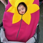 Car Seat Cover, Infant Car Seat Cover Sunflower on bright Fuschia, Baby Car Seat Cover