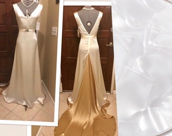 RTS solid white 1920s Art Deco insp AMELIA  silk charmeuse V-neck engagement party wedding bridal ball event train long Gown dress