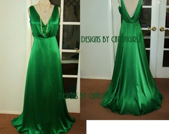 1930s Ins Julia Silk charmeuse Ivory or Emerald green V plunge Back low cut Bias cut Long Evening Event Bridal Wedding gown dress