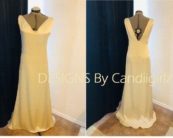 SALE!!  1920s Insp Vtg Ivory Jasriel gown V neckline Plunge Wedding Gala Opera Long Evening Gown Dress Size 10/12