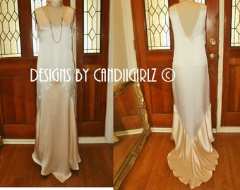 Sample RTS 1920s Insp the Camila ONE tone off white Ivory Silk Art deco leaf train cut LowV back sleeveless Long Wedding Gown