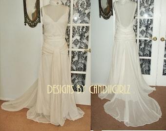 1930s insp Keira' Atonement Plunge Back Godet Bridal Wedding Gala Evening Silk Chiffon Gown Dress
