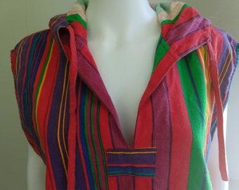 e1e1c7921e Rainbow Striped 100% Indian Cotton Hooded Tank Tunic Top Retro Beach Wear  by RIDE Size Ladies M L Mens M S 80s 90s Vintage Summer Sale