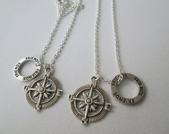 2 Open Compass, Friends Necklaces