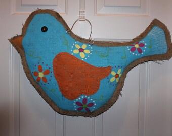 Handpainted Burlap Blue Bird Door Hanger