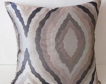 Retro 60s 70s Pillow Cover, Mod Pillow Cover, Metallic Silver Pillow Cover, Decorative Pillow, Designer Pillow, Abstract Pillow, Silver Gray