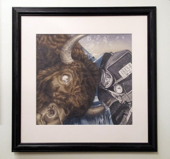 Versus - original fine art watercolor painting bison vs Ford model T matted and framed