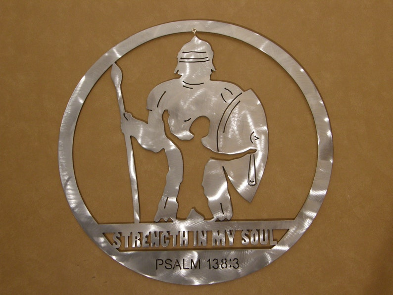 Metal wall art sculpture of David and Goliath image 0