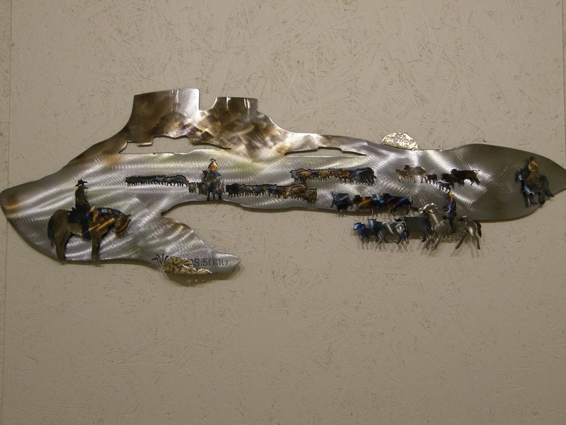 Metal Wall Sculpture of Cattle Drive with Scripture image 0