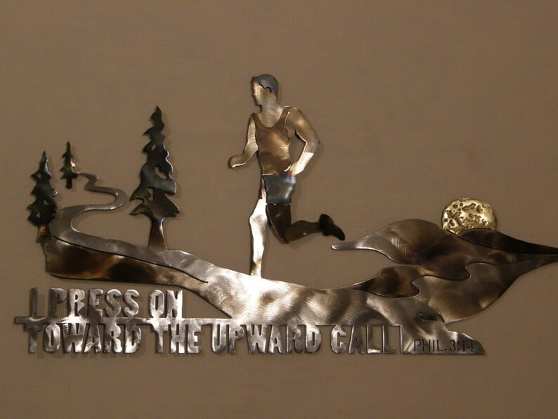 Metal Wall Sculpture of Runner with Scripture image 0
