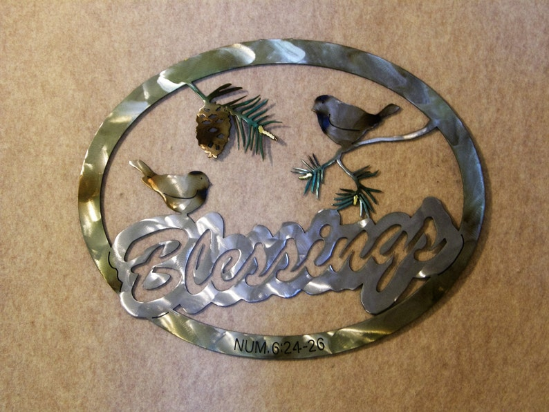 Blessings Metal Wall Sculpture Includes Chickadees and Pine image 0