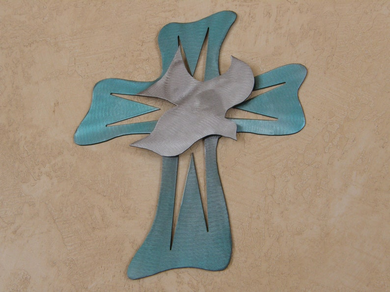 Metal wall cross with dove image 0