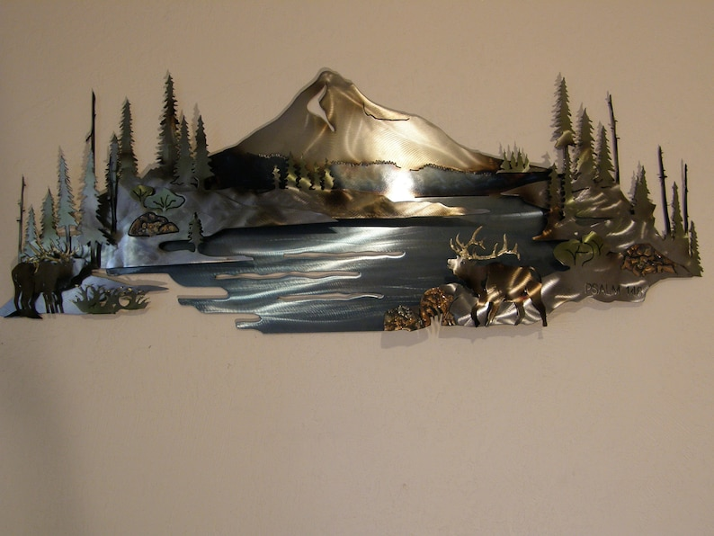 Metal Wall Sculpture of Mountain Scene with Lake and Elk image 0