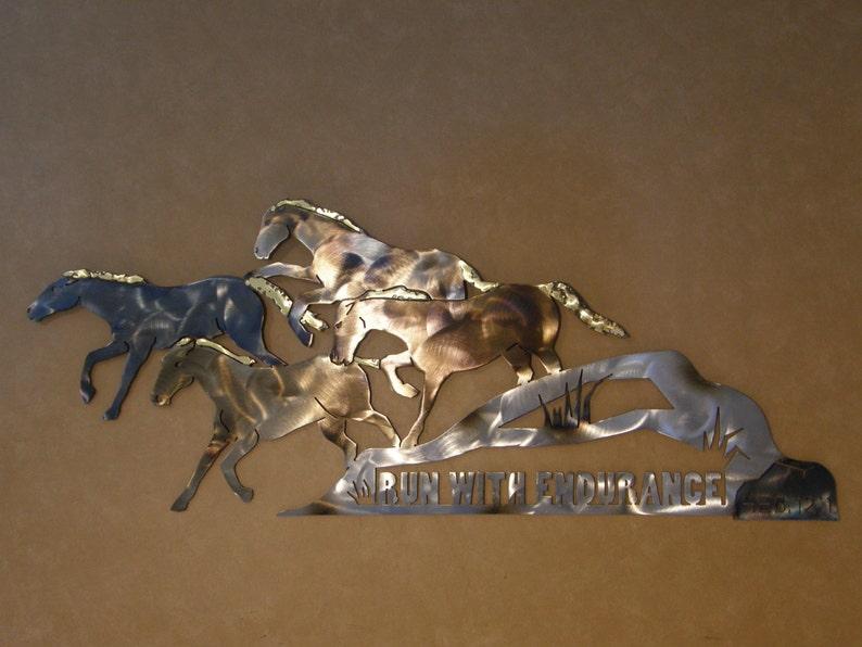 Christian metal wall art sculpture of running horses image 0
