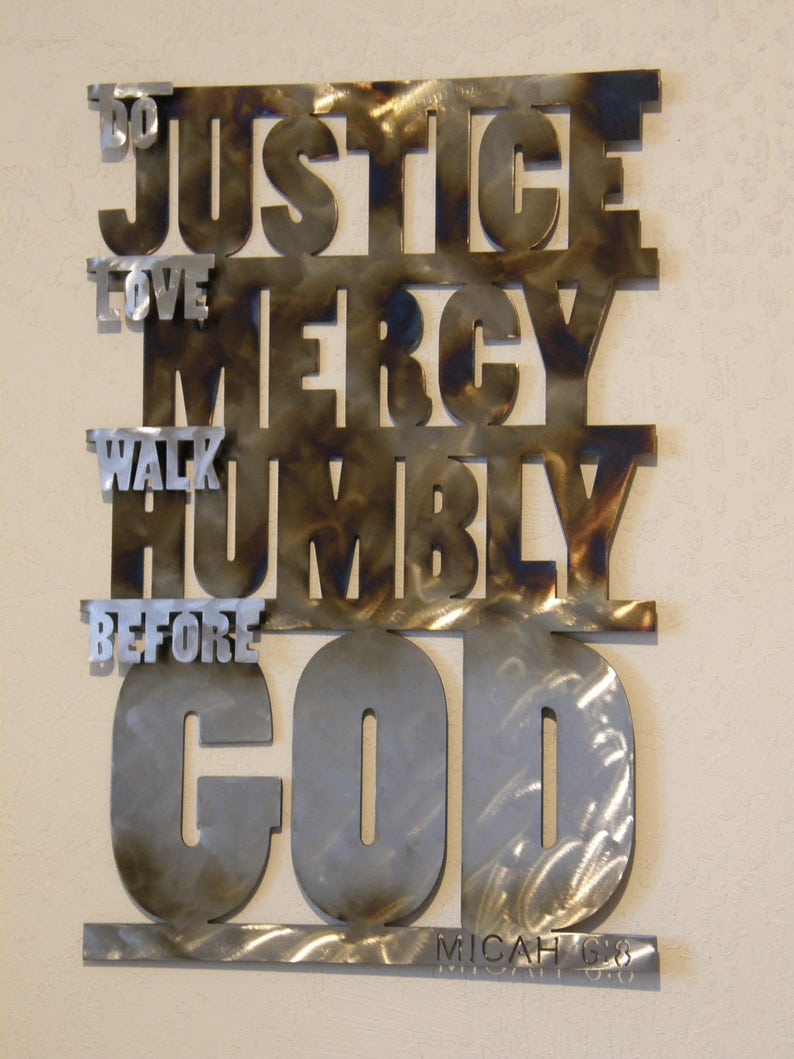 Christian Metal Wall Sculpture of Micah 6:8 Scripture Verse image 0