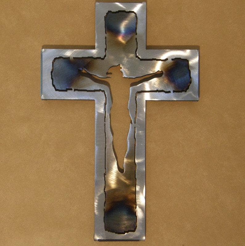 Metal wall cross with cutout Jesus image 0