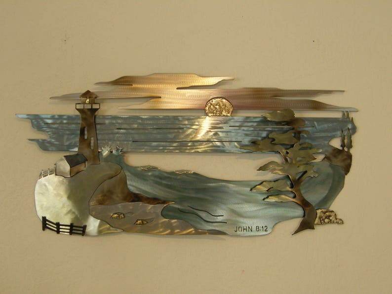 Beach Scene Metal Wall Sculpture with Scripture image 0