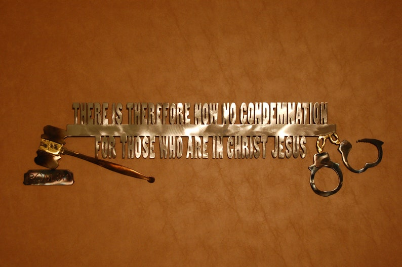 Metal wall sculpture of Romans 8:1 image 0