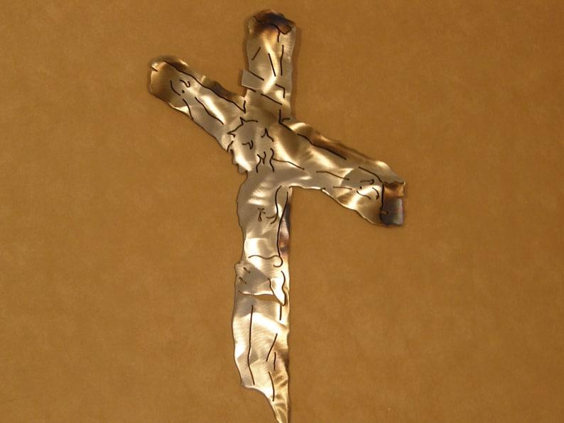 Crucifix metal wall sculpture image 0