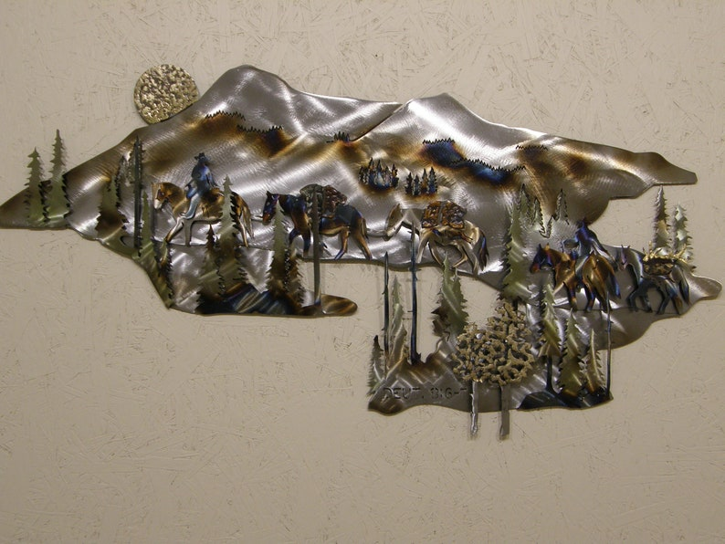 Metal Wall Sculpture of Pack Train in Mountains image 0