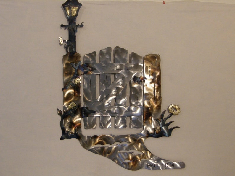 Metal Wall Sculpture of Garden Gate and Lamppost with image 0