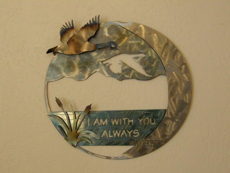 Metal wall art sculpture with geese and Scripture image 0