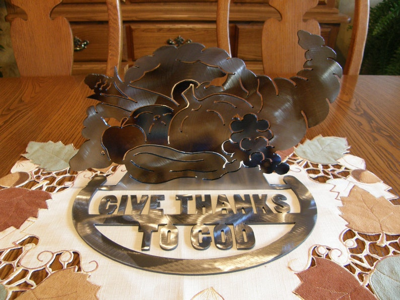 Metal Cornucopia Thanksgiving Table Centerpiece image 0